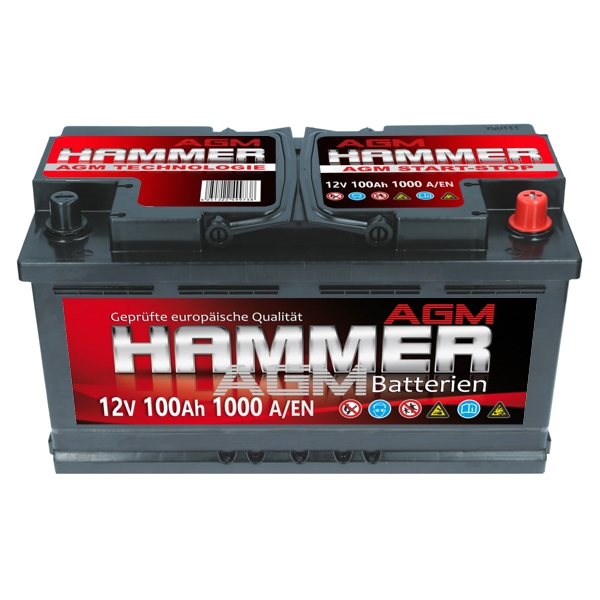 agm autobatterie 12v 100ah 1000a en hammer agm start stop. Black Bedroom Furniture Sets. Home Design Ideas