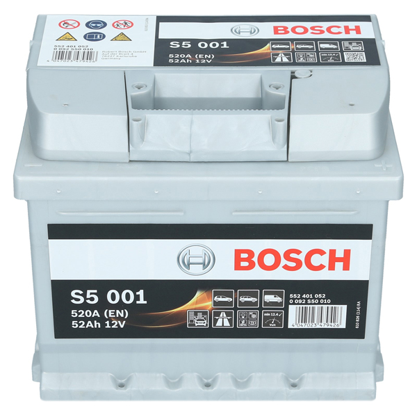 pkw autobatterie 12 volt 52 ah bosch s5 001. Black Bedroom Furniture Sets. Home Design Ideas