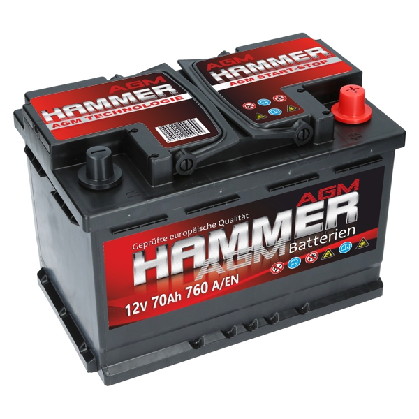 agm autobatterie 12v 70ah 760a en hammer agm start stop. Black Bedroom Furniture Sets. Home Design Ideas